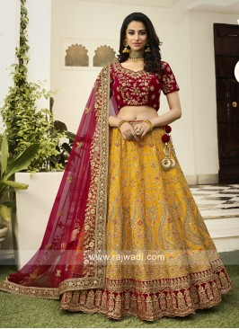 Raw Silk and Velvet Lehenga Choli