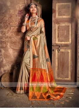 Raw Silk Beige Saree
