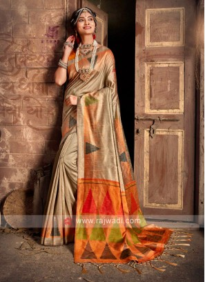 Raw Silk Beige Saree
