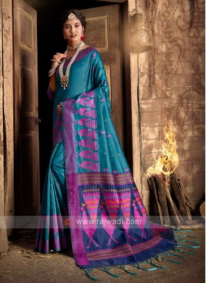 Raw Silk Blue Saree