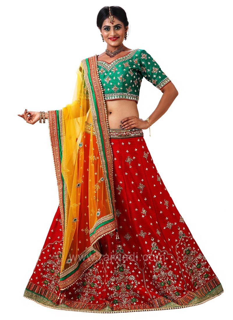 Raw Silk Bridal Choli Suit with Embroidery Work