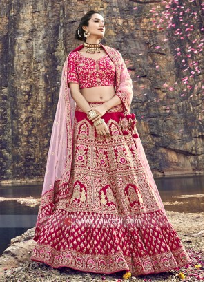 Raw Silk Bridal Lehenga Choli