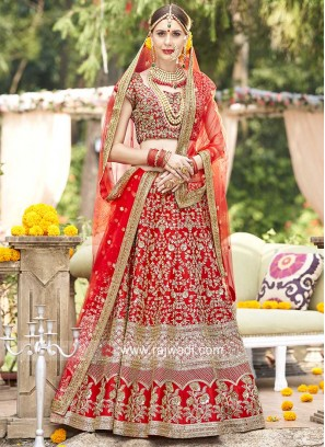Raw Silk Bridal Red Lehenga Set