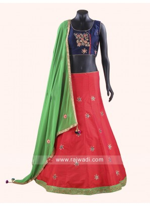 Raw Silk Chaniya Choli With Stylish Dupatta