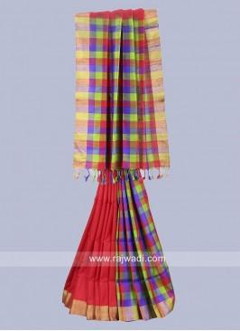 Raw Silk Checked Saree