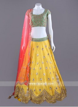 Raw Silk Choli Set with Cut Work Border