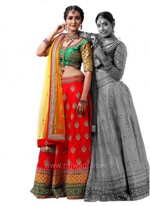 Raw Silk Choli Suit with Net Dupatta