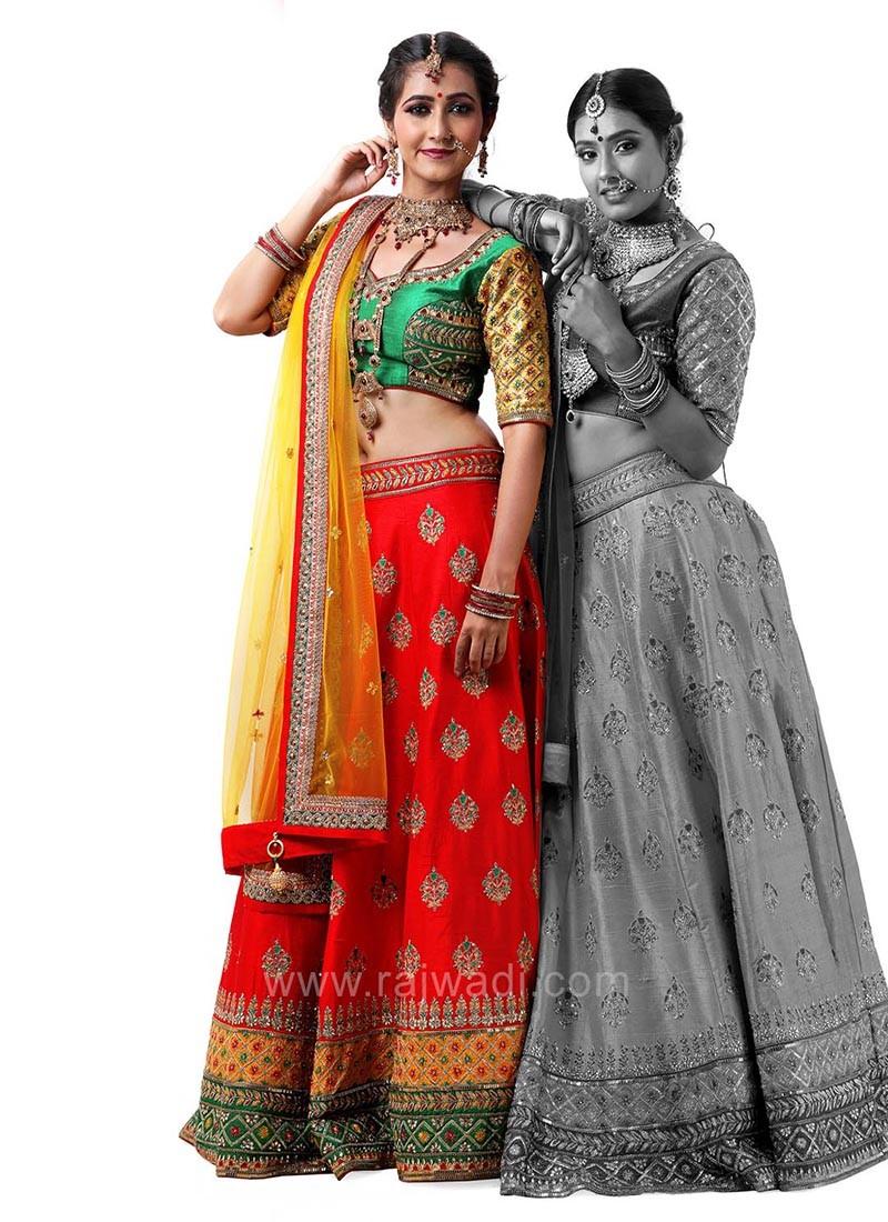 Raw Silk Choli Suit with Net Dupatta