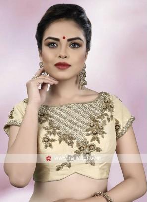 Raw Silk Cream Color Ready Choli