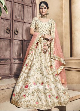 Raw Silk Cream Unstitched Lehenga Set