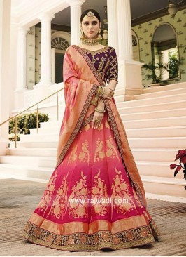 Raw Silk Crimson Lehenga with Banarasi Dupatta