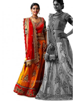 Raw Silk Cut Work Border Choli Suit