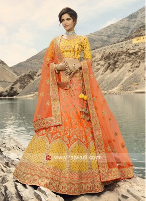 Raw Silk Dark Peach Lehenga Choli for Wedding