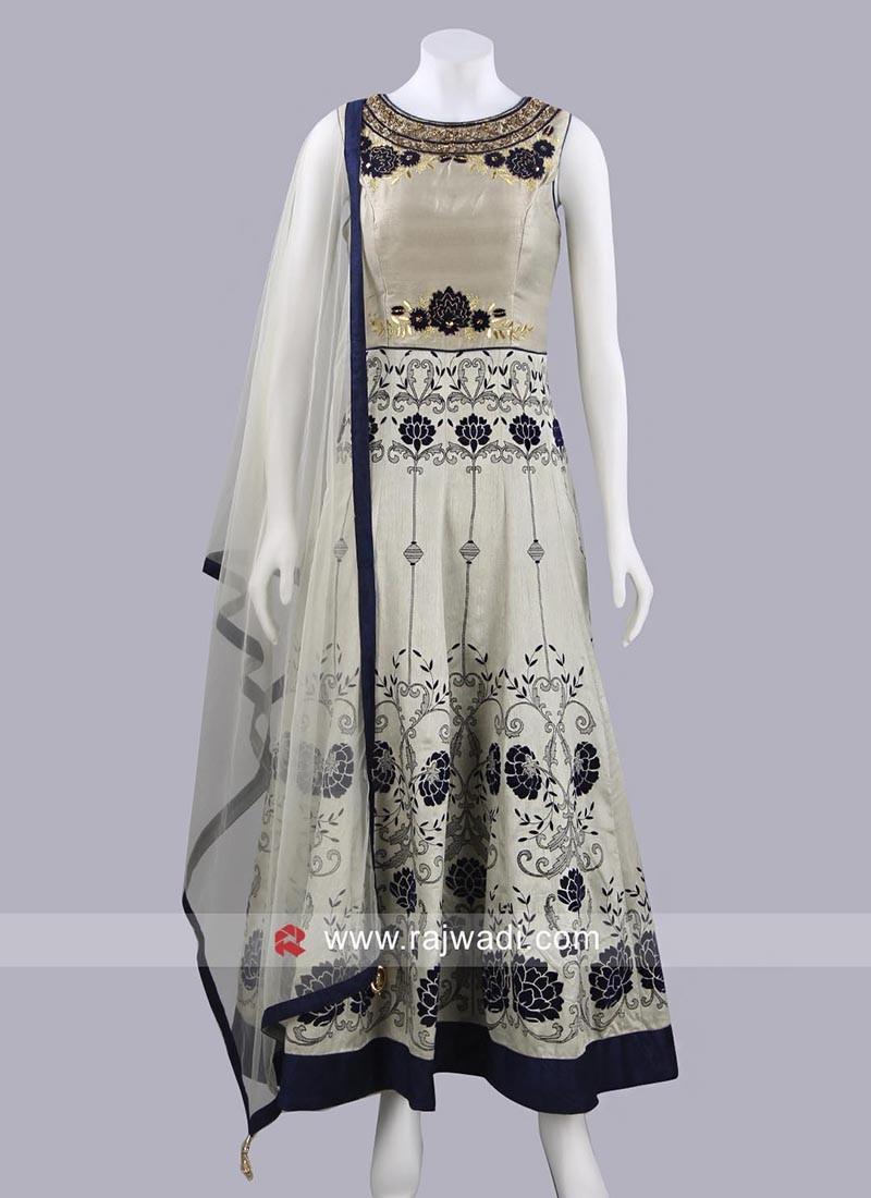 Raw Silk Designer Anarkali Suit