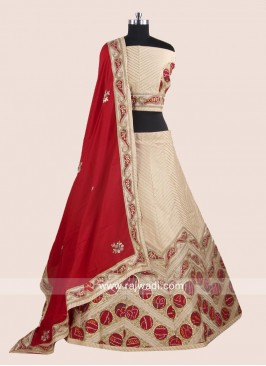 Raw Silk Designer Lehenga Set in Cream