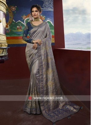 Raw Silk Designer Saree with Blouse