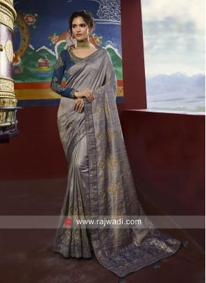 Raw Silk Designer Saree with Blouse