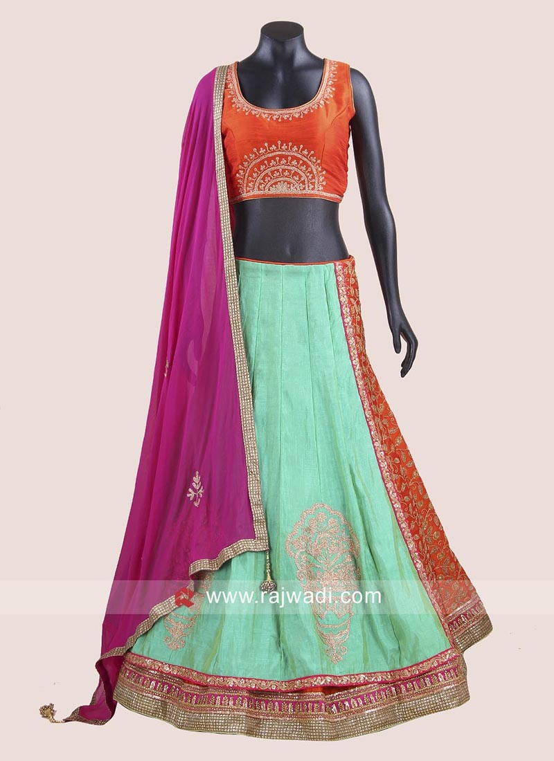 Raw Silk Double Layered Chaniya Choli