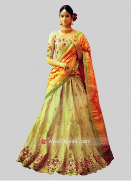 Raw Silk Embellished Lehenga Choli