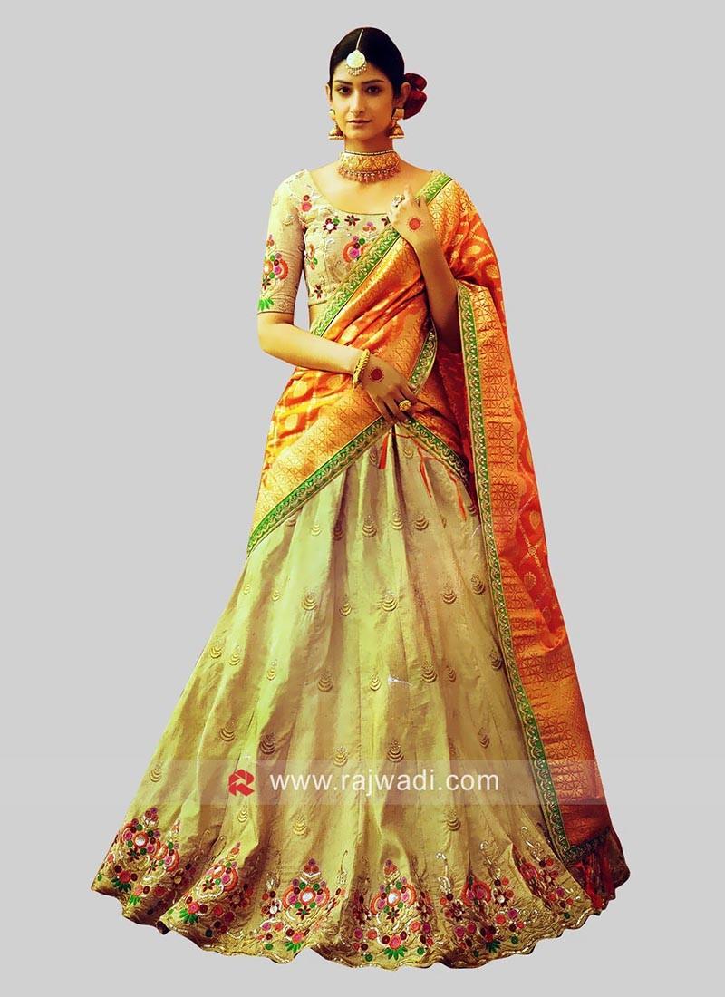 Raw Silk Embellished Lehenga Choli
