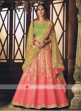 Raw Silk Embellished Lehenga Set