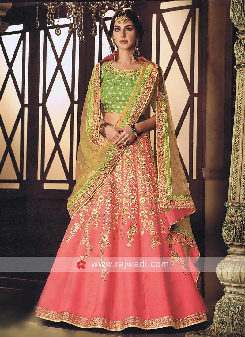 Raw Silk Embellished Lehenga Set