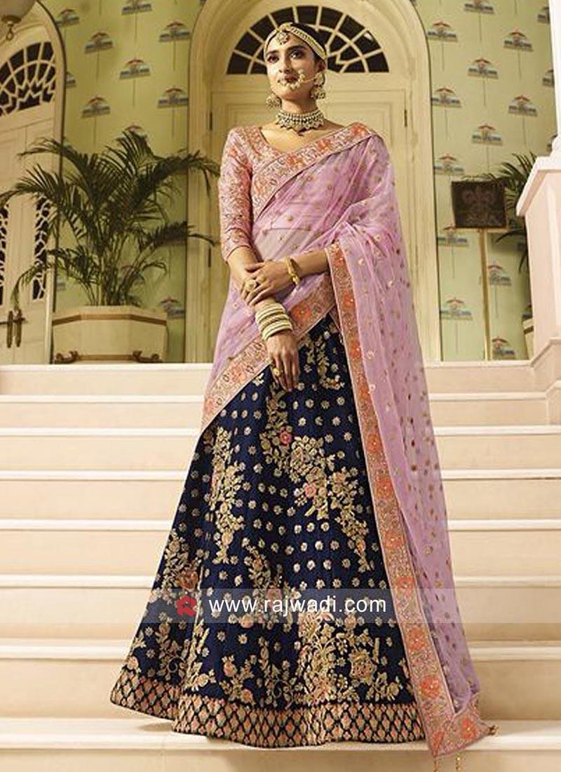 Raw Silk Embroidered Bridal Lehenga