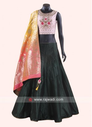 Raw Silk Embroidered Choli Suit
