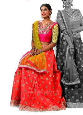 Raw Silk Embroidered Choli Suit with Net Dupatta