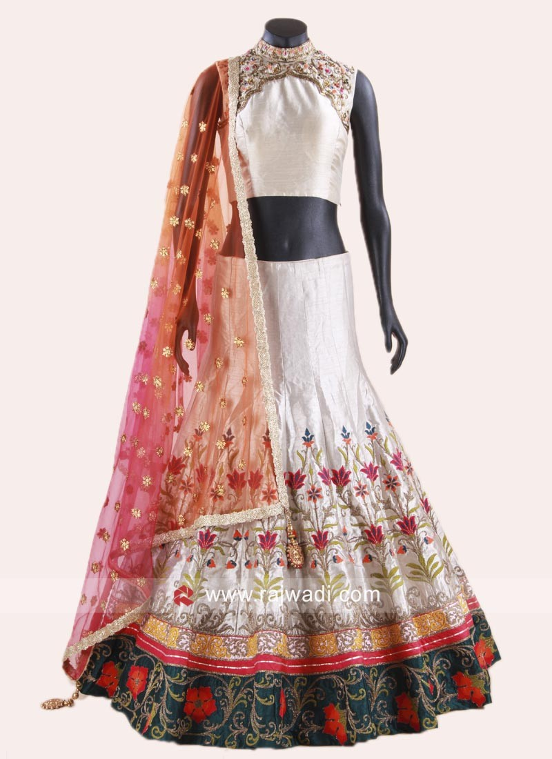 Raw Silk Embroidered Lehenga Choli