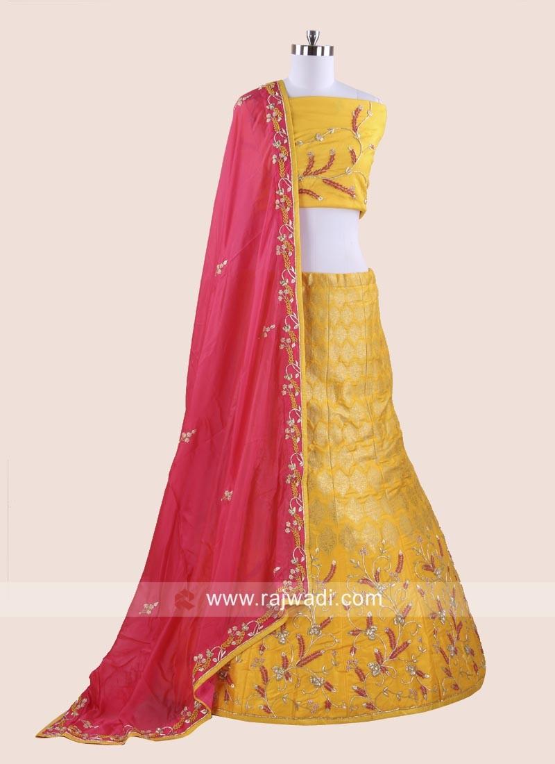 Raw Silk Embroidered Lehenga Choli in Dark Yellow
