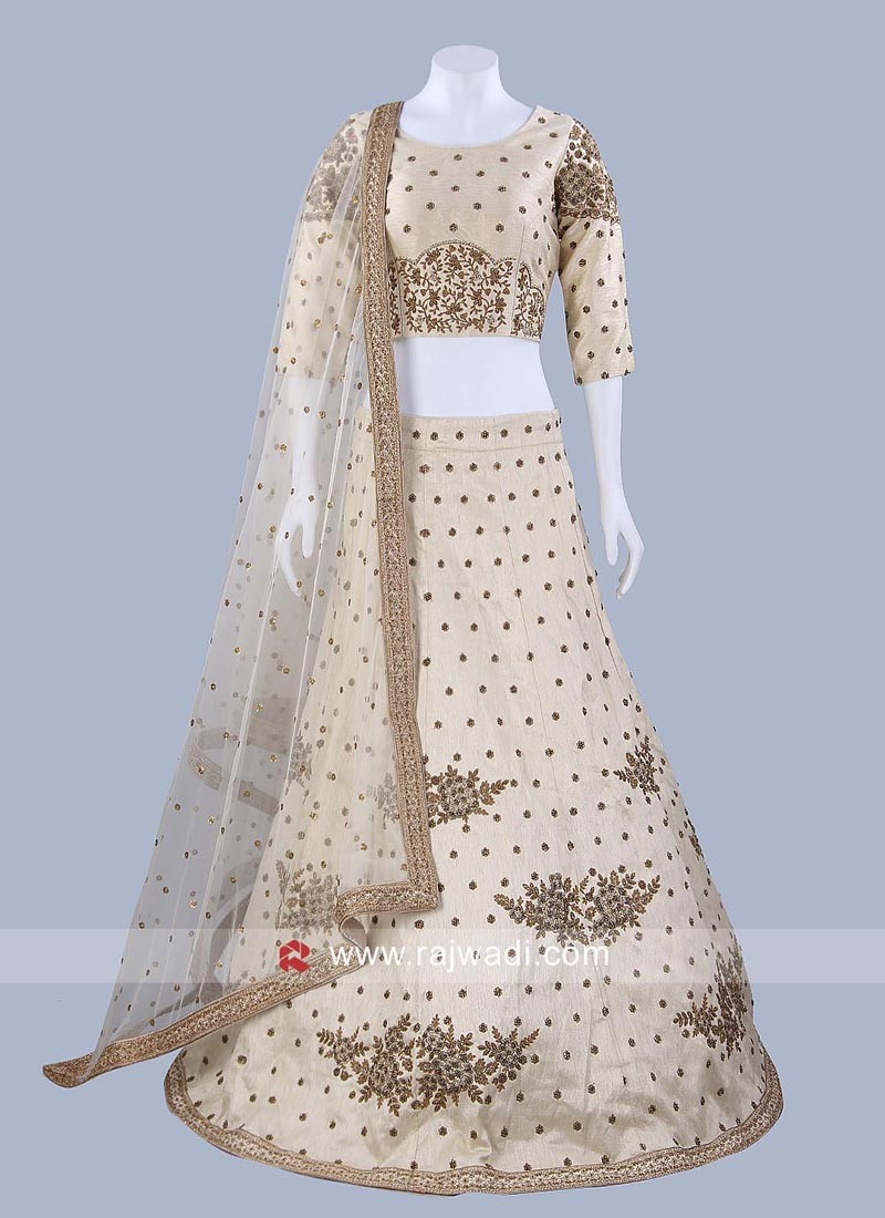 Raw Silk Embroidered Lehenga Set