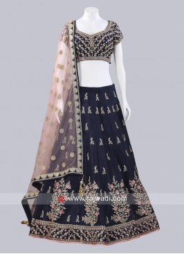 Raw Silk Embroidered Lehenga Set