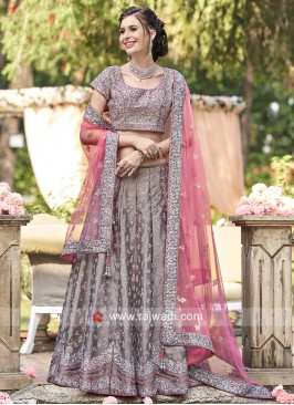 Raw Silk Embroidered Lehenga Set in Grey