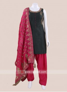 Raw Silk Embroidered Patiala Salwar Kameez