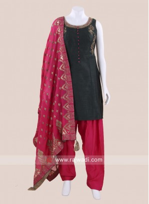 Raw Silk Embroidered Patiala Salwar Kameez