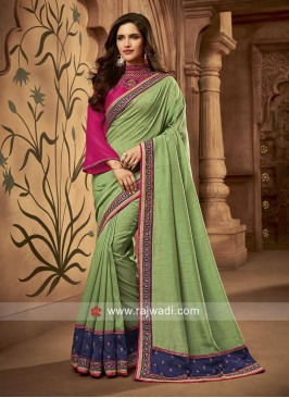 Raw Silk Embroidered Wedding Saree