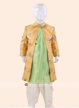 Mustard Yellow and Pista Green Indo Western
