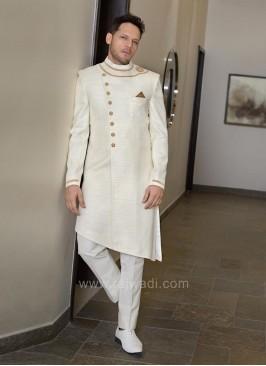 Raw Silk Fabric Indo Western Sherwani