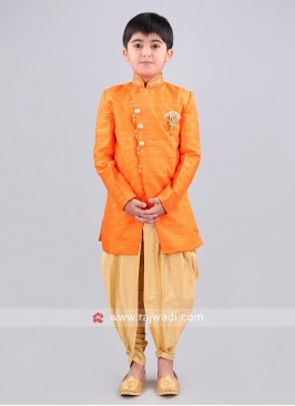 Raw Silk Fabric Orange Top With Stylish Dhoti
