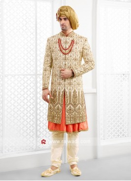 Raw Silk Fabric Sherwani For Men