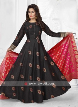 Raw Silk Floor Length Anarkali Suit