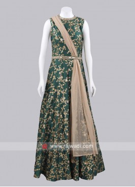 Raw Silk Floor Length Gown with Dupatta