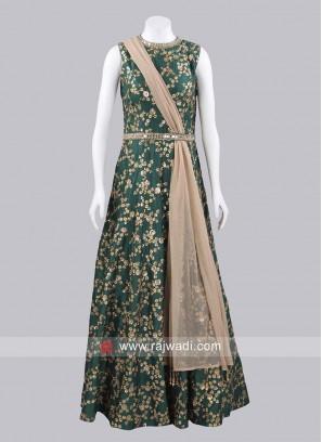 Raw Silk Floor Length Gown with Dupatta