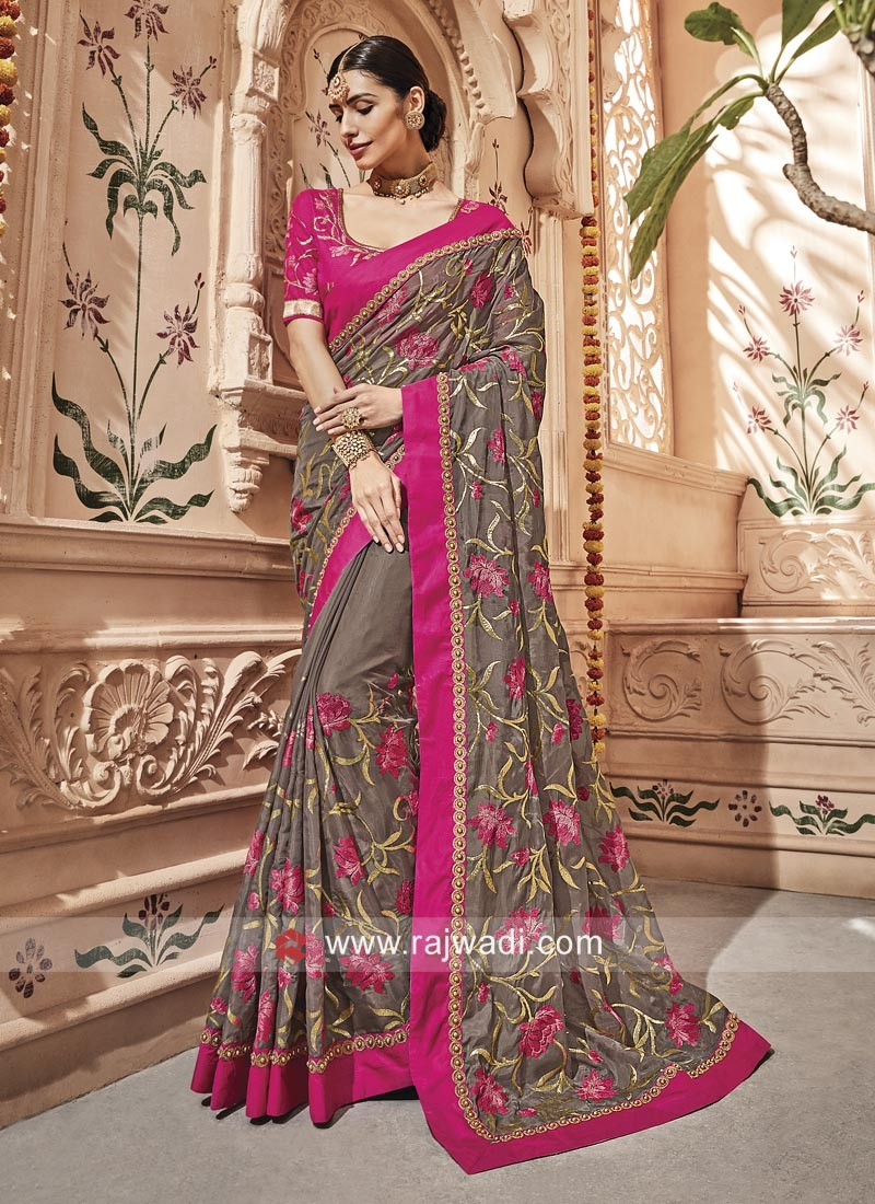 Raw Silk Flower Embroidered Saree