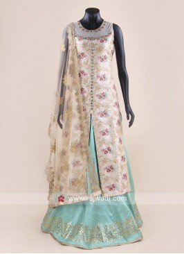 Raw Silk Flower Print Choli Suit