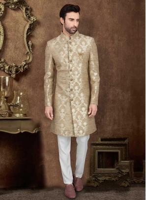 Raw Silk Golden Cream Color Indo-Western