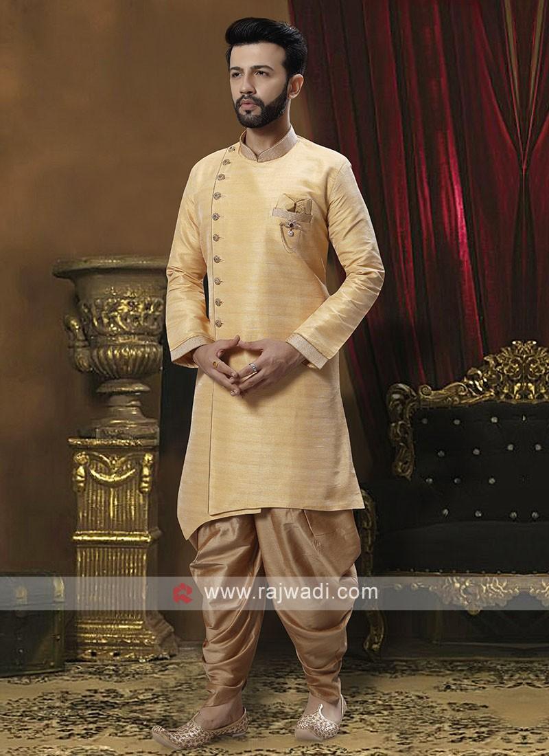 Raw Silk Golden Cream  Patiala Suit