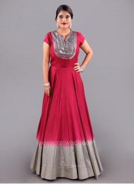Raw Silk Gown with Cap Sleeves