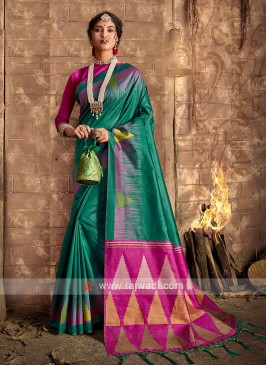 Raw Silk Green Saree